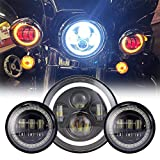 Black 7' Inch LED Headlight with DRL+ 2x 4.5' 30w Fog Light Passing Lamps Compatible with Motorcycles