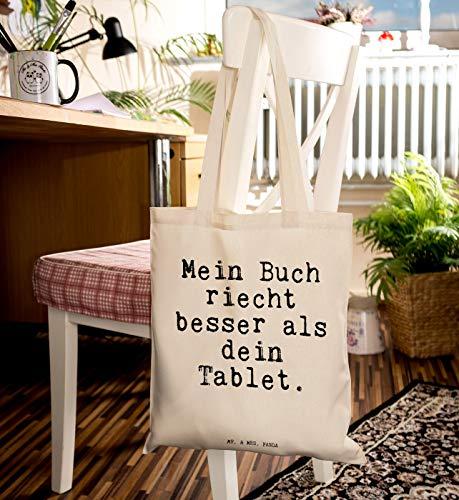 """Mr. & Mrs. Panda Tragetasche mit Spruch """"Mein Buch riecht besser als dein Tablet."""" - 6"""