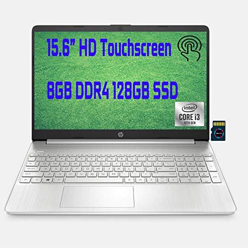 "HP Premium Business Laptop I 15.6"" Diagonal HD Touchscreen I 10th Gen Intel Core i3-1005G1 (>i5-7200U) I 8GB DDR4 128GB SSD I Intel UHD Graphics HDMI USB-C Wifi5 Win10 + Delca 32GB MicroSD Card"