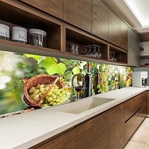 wandmotiv24 Küchenrückwand Wein Weintrauben Flaschen Glas Korb 260 x 60cm (B x H) - Acrylglas 4mm Nischenrückwand Spritzschutz Fliesenspiegel-Ersatz M1161
