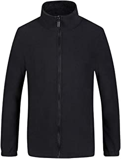 Jacket Cardigan Men'S Top Cardigan Thick Sweater with Full Zipper Stand-Up Collar Long-Sleeved Plain Pockets Warm Fleece-L...