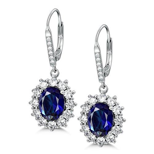 MASOP Saphir Ohrhänger 925 Sterling Silber Klappbügel Ohrringe Oval Blau Zirkonia CZ