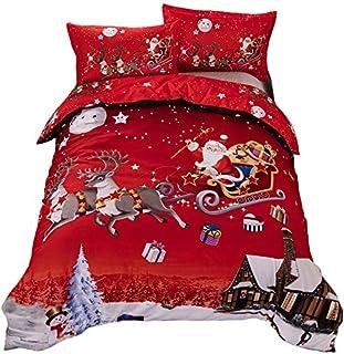 TEALP Funda nórdica navideña King Size Santa's Christmas Gifts Easy Care Juego de Cama Rojo
