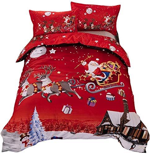 TEALP Copripiumino Natalizio King Size Regali di Natale di Babbo Natale Set di Biancheria da Letto Rosso Easy Care
