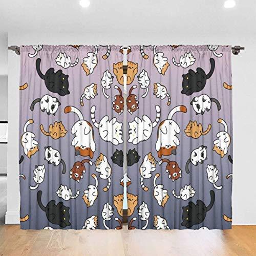 N/A Cortinas opacas con bolsillo para barra, cortinas para ventana, cortinas de sombra de habitación, cortinas inteligentes para dormitorio, 122 x 182 cm, 2 paneles, lindo gato divertido