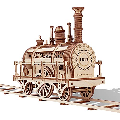 GuDoQi Modello Locomotiva a Vapore con Traccia, 3D Modellini da Costruire, Puzzle 3D Legno, Kit Fai da Te Creativo Idee Regalo Uomo