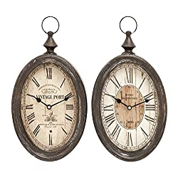Deco 79 Oval Shape Sophisticated Assorted Metal Wall Clock, Set of 2