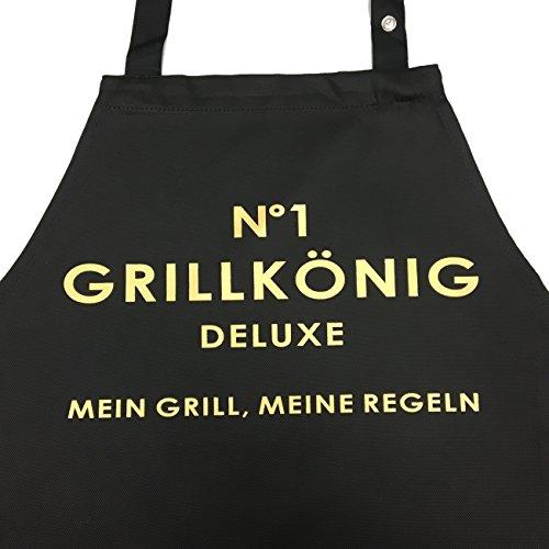 Grillkönig lustige Grillschürze - N°1 Deluxe - Mein Grill, Meine Regeln - mit verstellbarem Nackenband und Seitentasche