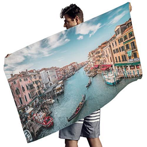 Toalla de playa Knowikonwn Canal de Venecia grande, de microfibra, colores vibrantes, toalla de baño, paisaje, playa, picnic para natación, Poliéster, Blanco8, 150x75 cm