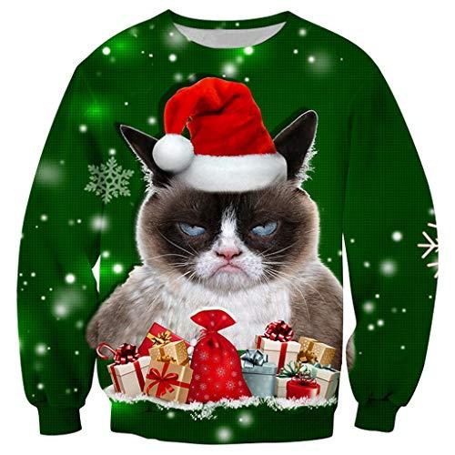 Christmas Sweater Herren UFODB Unisex Weihnachtspullover 3D Druck Damen Pullover Weihnachten Jumper Jumper Lustige Sweatshirts Xmas Long Sleeve Shirt M-5XL