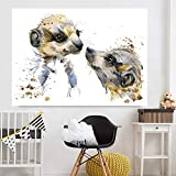QZROOM Decoración del hogar Arte de la Sala de Estar Modular Madre e Hijo Pequeño Suricata Animal HD Impreso Lienzo Moderno Pintura Póster de Pared -60x80cm Sin Marco