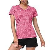 GBEN Camiseta deportiva de compresión para mujer, de manga corta, yoga, deportiva, transpirable y ligera, material antibacteriano, para fitness Gym Tank Top