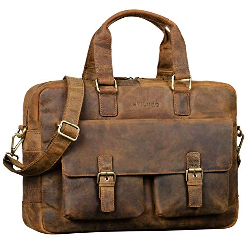 STILORD 'Alonso' Vintage Businesstasche Echtleder Große Aktentasche Arbeitstasche für Herren Damen 15.6 Zoll Echtes Leder, Farbe:mittel - braun