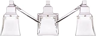 Hampton Bay 3-Light Chrome Vanity Light with Etched Glass Shades