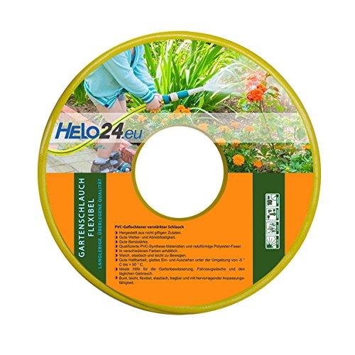 """HELO Gartenschlauch 30 m (1\"""" Zoll) gelb, verstärkter 3-Schichten Wasserschlauch aus flexiblen PVC mit netzförmiger Polyester Faser, 10 Bar Berstdruck, elastisch weich und leicht zu bewegen"""