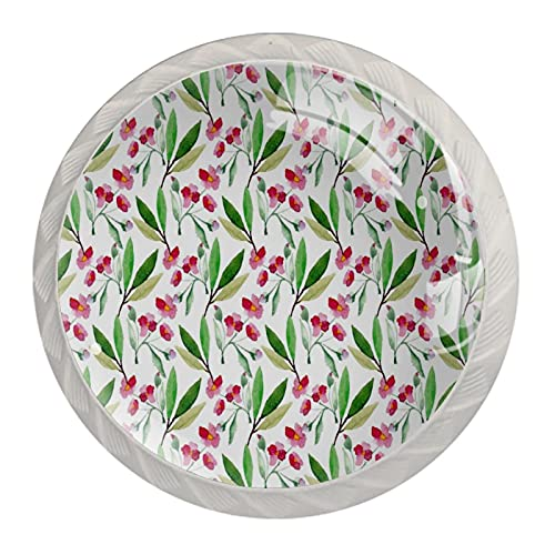 Diseño de flores de cerezo de acuarela, 4 piezas de pomos de gabinete de cocina ABS estilo Mord, asas redondas para cajones y cajones