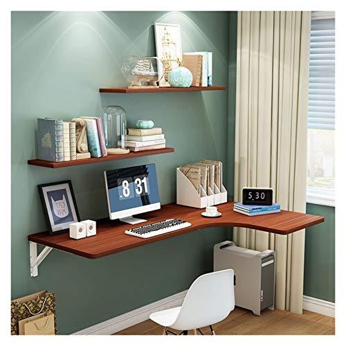 YUJIAN Mesa plegable para ordenador portátil, mesa plegable de pared con hojas de caída, pequeño espacio para el hogar, escritorio de esquina simple con estante (color marrón, tamaño: 1206040 cm)