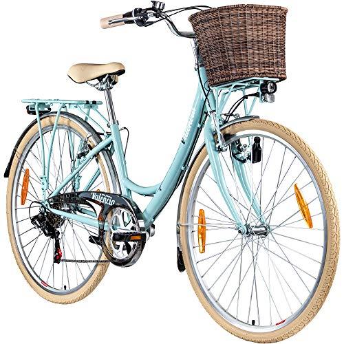 Galano 28 Zoll Valencia 6 Gang Citybike Stadt Fahrrad Damenrad Damenfahrrad, Rahmengrösse:19 Zoll, Farbe:hellblau