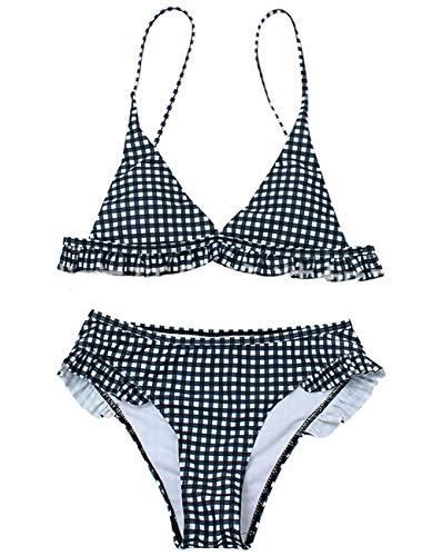 JFAN Costumi da Bagno Donna Plaid Costume da Bagno Bikini Imbottito da Spiaggia Tracolla Sottile Costume da Bagno Estivo Casual Sexy a Plaid con Volant con Spalline
