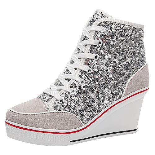 amropi Damen Wedges Hoher Absatz Schnüren High Top Pailletten Freizeit Sneaker (Silber,39 EU)