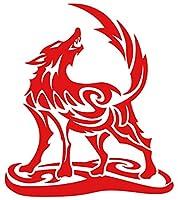 カッティングステッカー オオカミ(狼) ウルフ(wolf) トライバル・2(右向き) 約160mmX約140mm レッド 赤