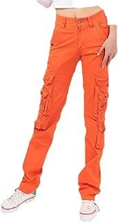 neveraway Women Cotton Multi-Pockets Plus Size Outdoor Middle Waist Long Pants