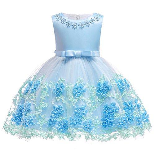 FYMNSI Baby Partykleid Blumenmädchen Hochzeitskleid Brautjungfer Kleid Kleinkinder Mädchen Tutu Prinzessin Abendkleid Babykleid Geburtstagskleid Festkleid Taufkleid Schleife Festlich Festzug Kleidung