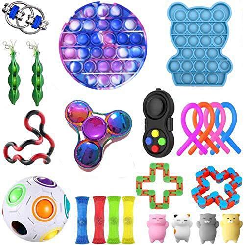 BoBoLily, Juguete antiansiedad para aliviar el estrés, 23 unids/set juguete de descompresión cuerda cubo alivio estrés llavero rompecabezas