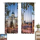 Cortinas Correderas Decoración de Paisaje Urbano Europeo, Catedral Vieja y Palacio Real en Madrid Mediterráneo Mod City Europe Urban Print, Multi, para Oscurecimiento de Habitaciones Paneles para Saló