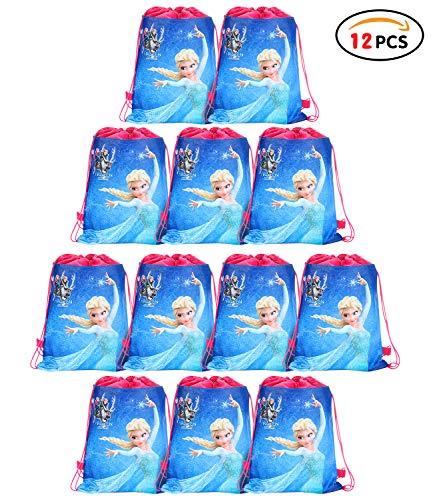 Qemsele Partytüten Mitgebsel Kindergeburtstag Gastgeschenke Tüten Tasche 12 Stück, Kordelzug Rucksack Bag Turnbeutel für Kinder Mädchen Frauen Kindergeburtstag, Geburtstagsfeier, Frozen