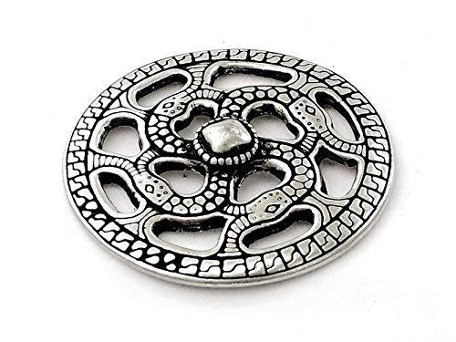 Swastika-Amulett mit Schlangen-Motiv nach einem frühmitelalterlichen Vorbild Farbe silberfarben