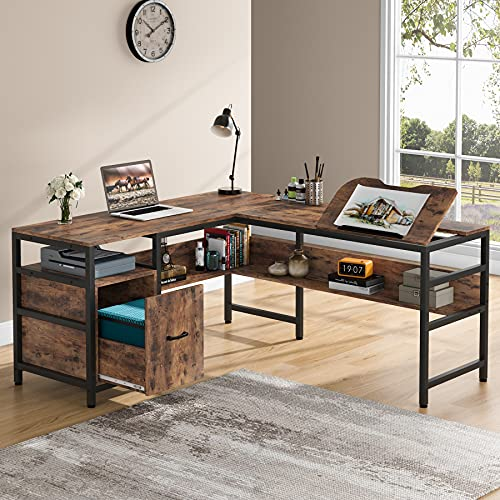 Tribesigns L-Shaped Art Desk with Storage