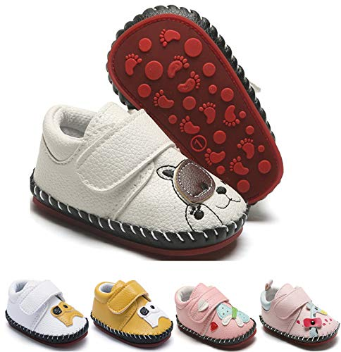 EAU LAYAMEN Baby Girls Boys Sneakers PU Leather Shoes Toddler Anti-Slip Rubber Sole Hard Bottom First Walkers Cartoon Crib Shoes Dog White Toddler:12-18 M,13cm