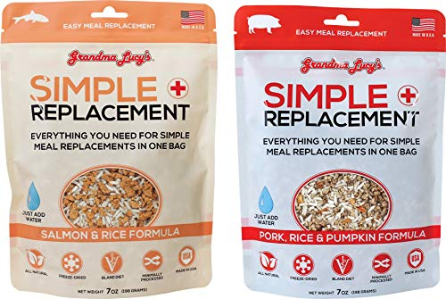 Grandma Lucy's 2 Flavor Simple Meal Replacement Freeze-Dried Grain-Free Bland Diet for Dogs Bundle: Pork and Salmon