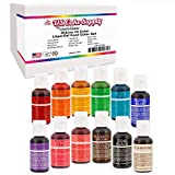 12 Color Cake Food Coloring Liqua-Gel Decorating Baking Set - U.S. Cake Supply .75 fl. Oz. (20ml)...