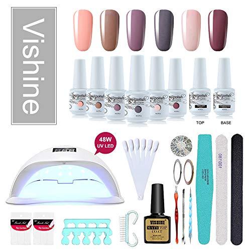Vishine 48W Lampe LED UV Kit Complet Vernis Semi-Permanent,6 Couleurs Nu, No wipe Top Coat Base Coat,Complet Accessoires Manucure Outils pour Nail Art Cadeau idéal C010
