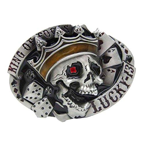 non-brand Hebilla de Cinturón de Hombre Gorma Ovalada Patrón de Calavera Estilo Vaquero Occidental Vintaje - Negro, como se describe