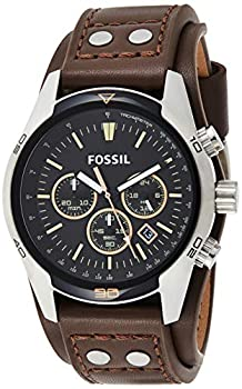 Fossil Men s Coachman Quartz Stainless Steel and Leather Chronograph Watch Color  Silver Brown  Model  CH2891