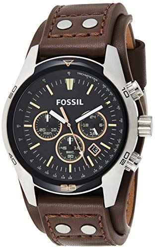 Fossil Men's Coachman Quartz Leather Chronograph Watch, Color: Silver, Brown (Model: CH2891)