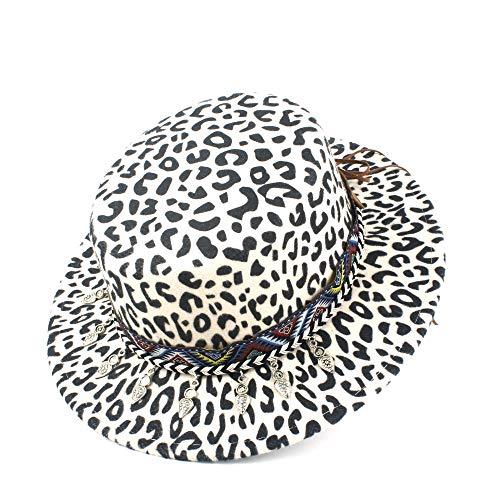 Bin Zhang Gondoliere Hut Mode Winter-Terry-Hut Wolle Polyester Flat Top Hat Formale Partei-Farbe gesponnenen Gurt Flat Top Hat Männer Frauen (Color : White, Size : 56-58)