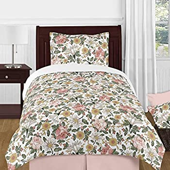Sweet Jojo Designs Vintage Floral Boho Girl Twin Size Kid Childrens Bedding Comforter Set - 4 Pieces - Blush Pink Yellow Green and White Shabby Chic Rose Flower Farmhouse