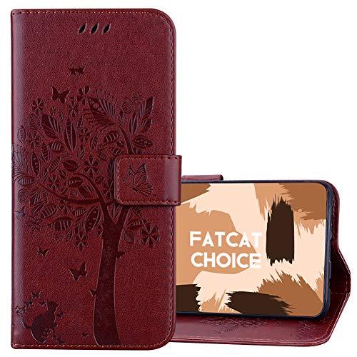FatcatChoice Kompatible mit LG K3 / LS450,Prägung Muster Schutzhülle PU Leder Brieftasche-Stil Handytasche PU Leder Flip Cover Wallet Hülle Schutzhülle Etui Hülle (Kaffee)