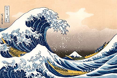 1art1 Katsushika Hokusai - La Gran Ola De Kanagawa Póster (120 x 80cm)