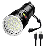 Torch with 18 LED, Rechargeable LED Torch, 10000 Lumens 4 Modes LED Flashlight