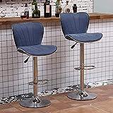 Accesorios 2 Casos de taburetes de barras, sillas giratorias ajustables, asientos grandes, taburetes de desayuno, usados en islas de cocina, bar, contadores,Blue-2