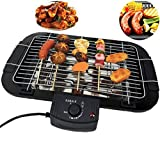 Jukkre Electric Barbecue, Smokeless Indoor and Outdoor Grill, Non Stick, with 5 Temperature Adjustments, Portable Electric Grill, Non-Slip Feet, Stainless Steel Handle