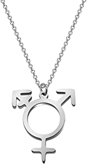 WUSUANED Transgender Symbol Necklace Transgender Pride Jewelry Male and Female Symbol Necklace Transgender Gift