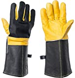 DEFENCES Scratch/Bite Resistant Gloves Gauntlet For Dog Cat Bird Snake Reptile Grooming,15 Inch Leather Work Gloves Kevlar Stitching, Perfect for BBQ, Stove, Welding, Animal Handling Gloves Bite Proof