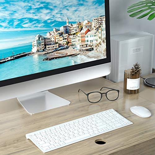 Jelly Comb Tastatur und Maus kabellos, 2.4Ghz Wireless Wiederaufladbare Tastatur Maus Set, Ultra Dünn QWERTZ Funktastatur für PC, Desktop, Notebook, Laptop, Windows XP/7/8/10(Weiß)