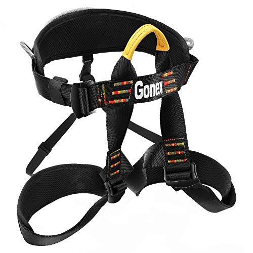 Gonex Rock Climbing Harness, Tree Climbing Harness Adjustable Mountaineering Rappelling Safe Seat Belts for Men Women, Padded Black